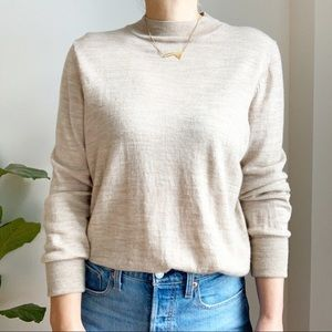 BADGLEY MISCHKA Tan Mockneck 100% Merino Wool Sweater